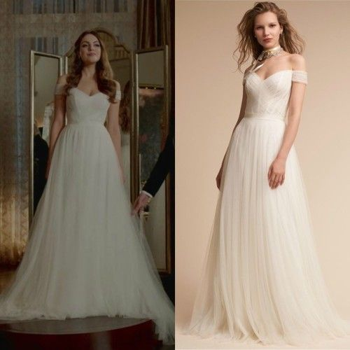 Fallon Carrington Wears This White Off The Shoulder Watters Heaton Gown On Dynasty 2x08 Ball Gowns Wedding December Wedding Dresses Ball Gown Wedding Dress
