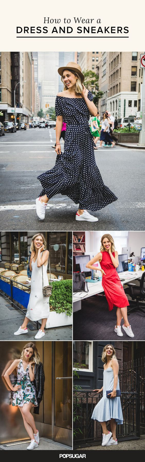 Casual and relaxed wearing sneakers with a dress