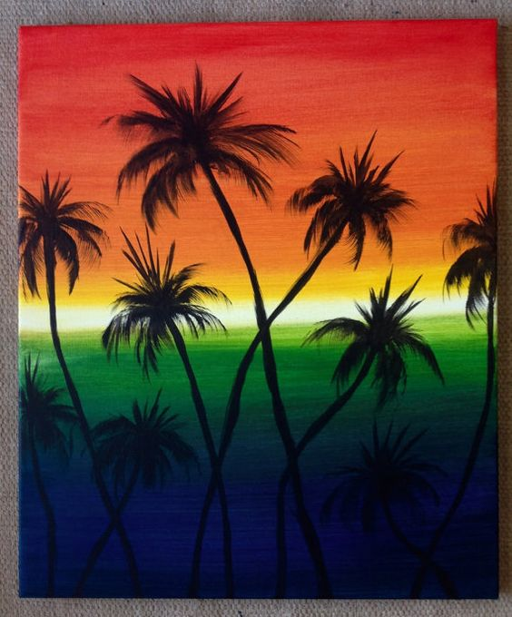 Sold Original Margarita Sunrise Bright colors of the rainbow compliment the black silhouette palm trees. By Art Room 278
