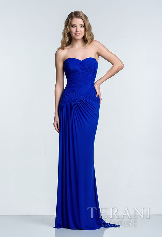 jersey   evening gown with sweetheart neckline and ruched bodice with semi circle   motif
