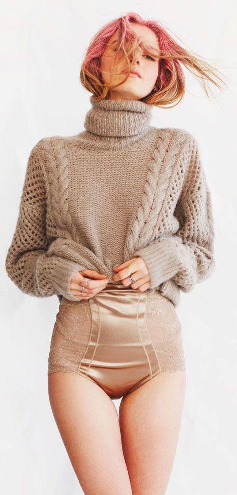 Ryan Roche Taupe Turtleneck Sweater