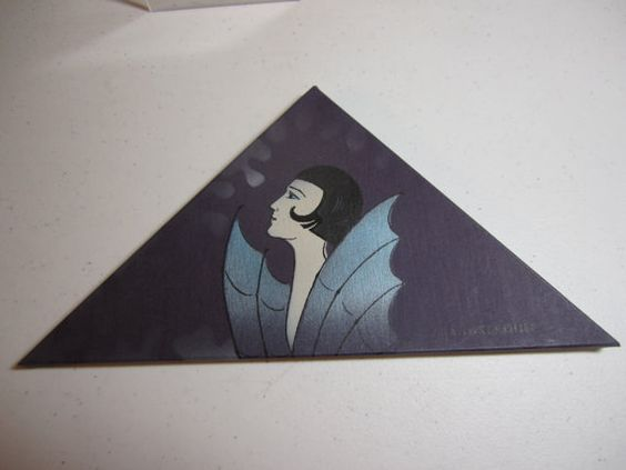 Gorgeous 1920's-30's hand painted extreme art deco designed handkerchief box bobbed hair flapper with wings unused embroidered hankie