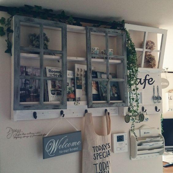 myu-momさんの、壁/天井,本棚,DIY,ブログもしてます♥︎,Cafe風にしたい,のお部屋写真
