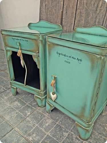 Mesas de luz antiguas vintage buscar con google - Pintar muebles estilo vintage ...