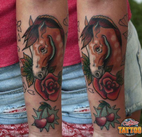 Neo traditional horse tattoo custom tattoo antalya for Horse tattoo traditional
