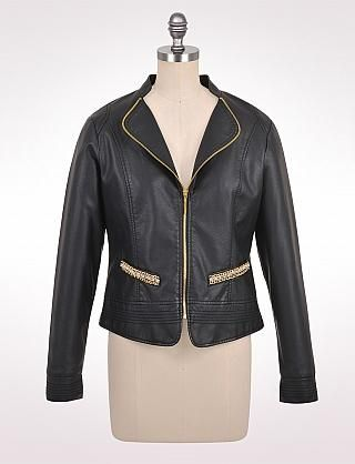 Misses | Crystal Trim Faux-Leather Jacket | dressbarn | Dressbarn ...