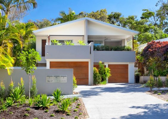 good concept for Msian homes! Duplex for small family...: Tropical House, Beach House, House Design, House Renovation, Duplex House, Duplex Idea, Beach Renovation, Wood House