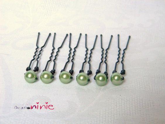 Lot de 6 pics à chignon couleur vert anis - personnalisable : Accessoires coiffure par creation-ninie