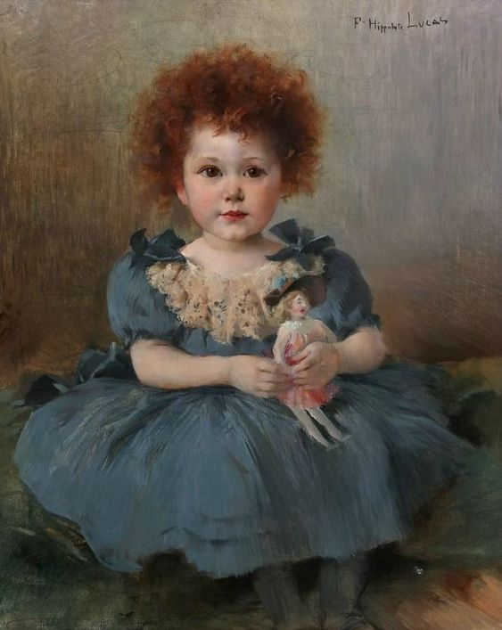 """Little Girl with a Rag Doll"" -- by Marie-Félix Hippolyte-Lucas (1854-1925)"