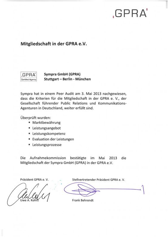 So proud: GPRA (re)certified agency!