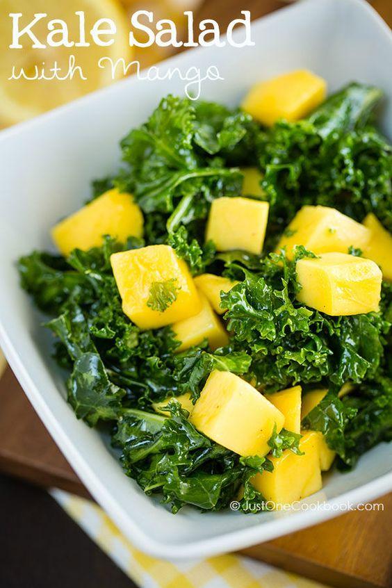Massaged Kale Salad with Mango | Easy Japanese Recipes at JustOneCookbook.com