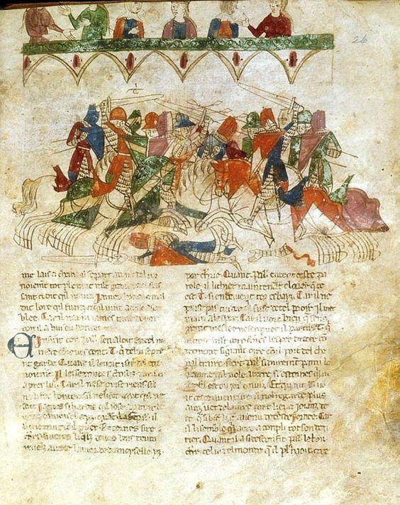 Um torneio entre cavaleiros (incluindo Tristan, marcado com um 'Ti'), assistido na galeria por um público de senhoras interessadas; do Prosa Roman de Tristan , Itália (Génova), no último trimestre do século 13 ou primeiro trimestre do século 14, Harley MS 4389 , f. 29r. Linda Imagem. A ser pesquisada.