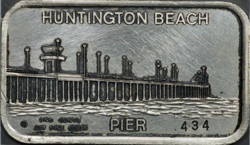 Huntington Beach Pier Vintage 1 oz Silver Bar