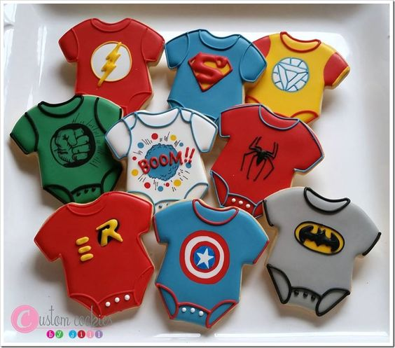 Adorable Superhero Baby Shower Cookies made by Custom Cookies by Jill