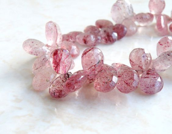 Pink Rutilated Quartz Gemstone Briolette by somsstudiosupplies