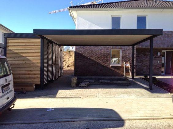 carport metall und holz mit ger teraum garten pinterest. Black Bedroom Furniture Sets. Home Design Ideas