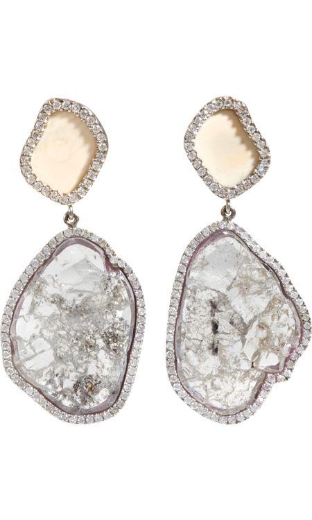 Earrings by Monique Péan: Made of fossilized wooly mammoth and diamond slices...