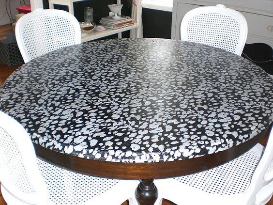 Fabric decoupaged on a table