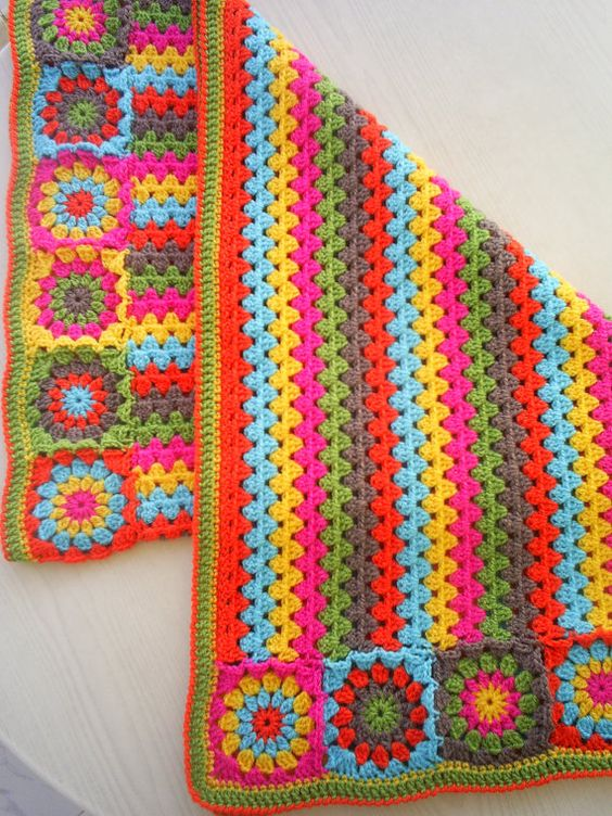 the granny stripes and squares colorful blanket by handmadebyria