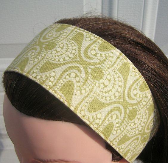 Green Headband, Wide, Funky Waves