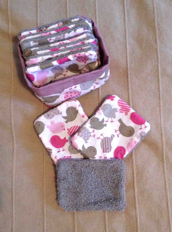 Lingettes bébé lavables - Carrés de change - Oiseaux - Rose & Gris : Puériculture par gaelledeuxailes