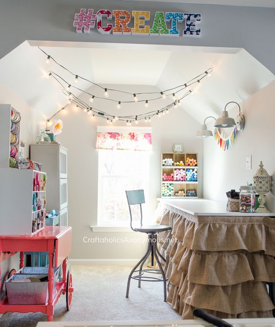 Amazing Craft Nook. I want to curl up and craft my little heart out in there! Take a tour of the Dream Craft Room www.craftaholicsanonymous.net: