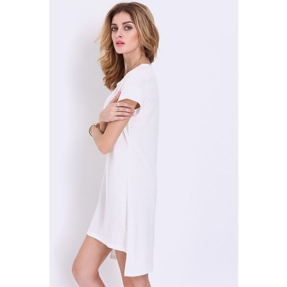 White Short Sleeve High Low T-shirt Dress ($14) ❤ liked on Polyvore featuring dresses, white, hi lo dresses, white tshirt dress, white tee dress, hi low dress and white hi low dress