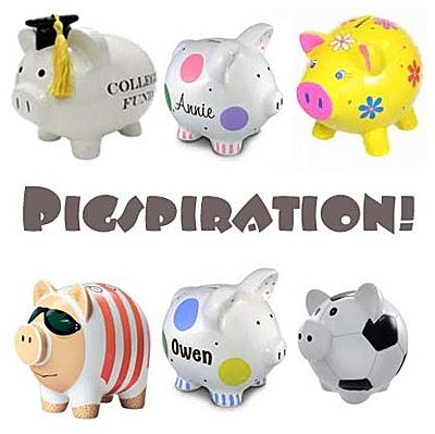 Looks at all the ways you can paint your own piggy bank! Get Pigspiration for your design!