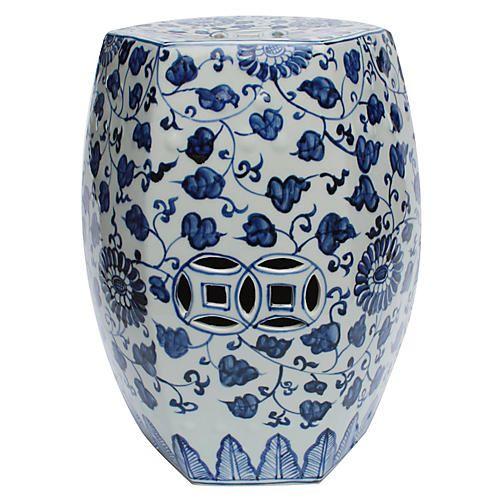 Alban Garden Stool Blue White Garden Stool Ceramic Garden Stools Vine Design