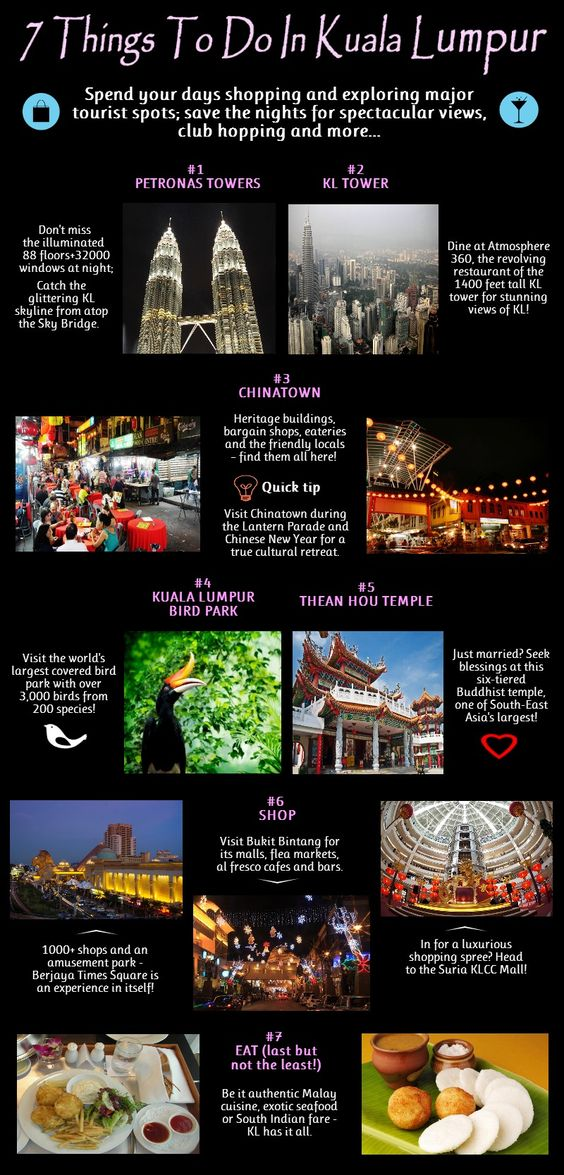 7 Things To Do In Kuala Lumpur, #Malaysia #infographic
