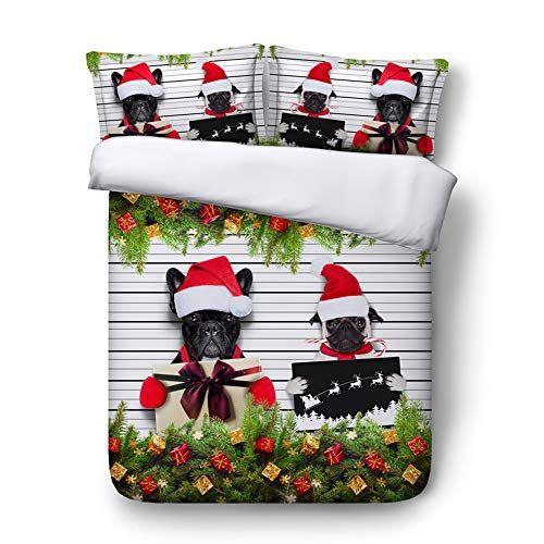 EsyDream Merry Christmas Black Dogs