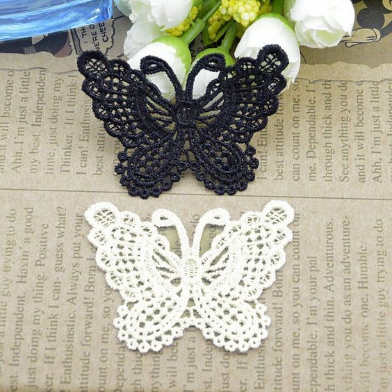 10 Butterfly Lace Sew On Appliques Embellishments Sewing Trim DIY Wedding Craft