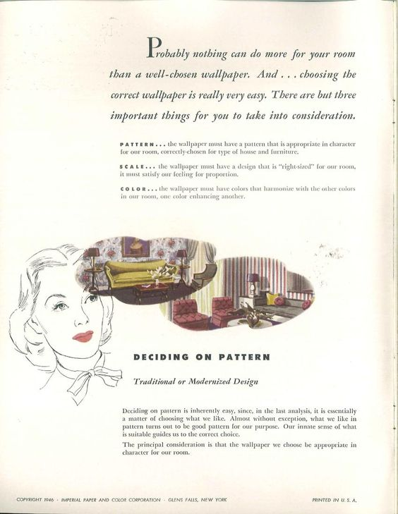"Color harmonizer: the easy way to color harmony for a lovelier home, 1946 catalog from the Imperial Paper ad Color Corp. ""Deciding on pattern: traditional or modern design."""
