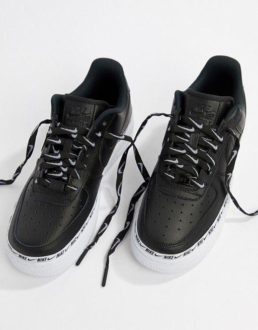 Nike | Nike - Black Air Force 1 - Baskets à bande avec virgule ...