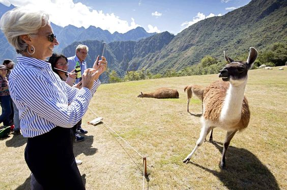 French politician Christine Lagarde met with llamas Machu Pichu in Peru, October 5th.