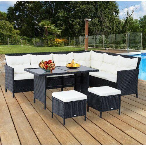 Sol 72 Outdoor 8 Sitzer Lounge Set Aliki Aus Polyrattan Mit Polster Wayfair De Gartenmobel Sets Lounge Polyrattan