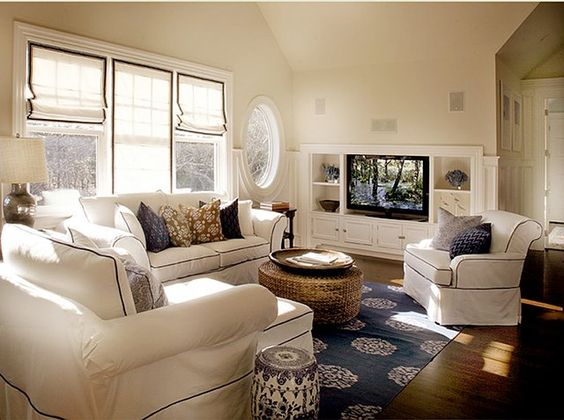 Cream Navy And Tan Living Room Elsa Soyars Via