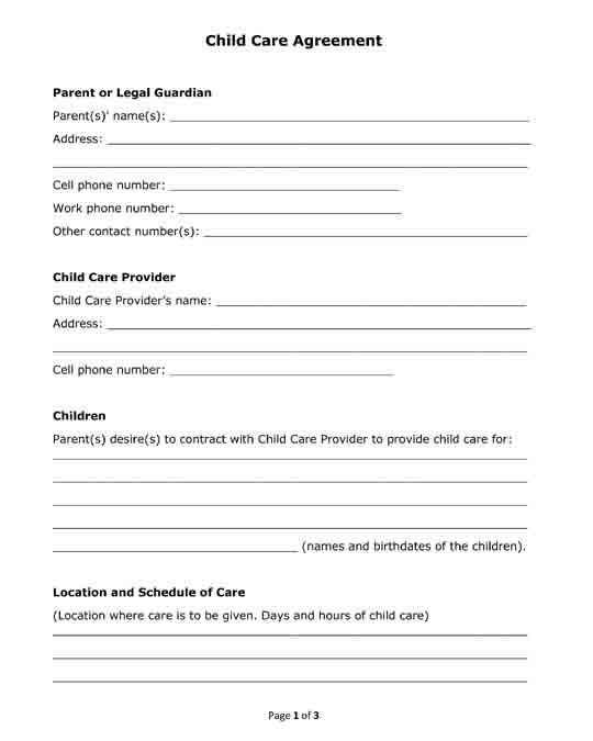 Child Care Contract Template Unique Free Printable Pdf Format Form Child Care Agreement For Childcare Daycare Contract Daycare Forms
