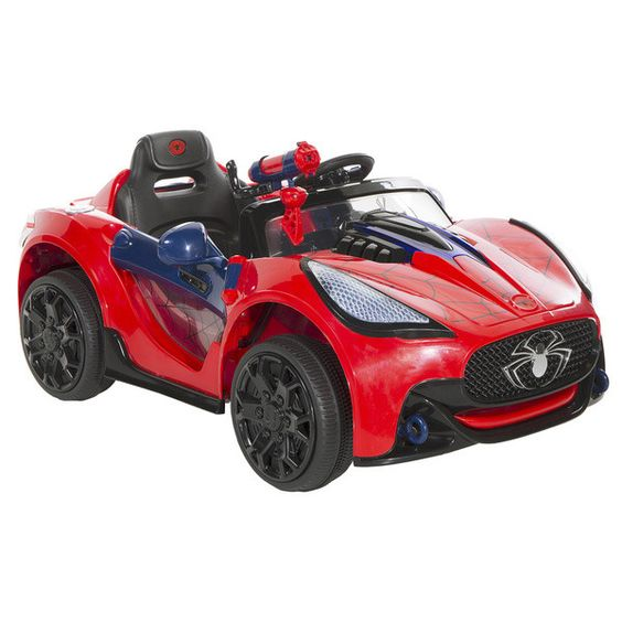 Spider-Man Super Car 6-Volt Battery-Powered Ride-On - Classic red and blue Sp...