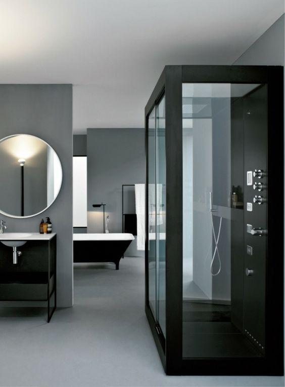 badezimmer modernes design runder badspiegel dusche badewanne - modernes badezimmer designer badspiegel