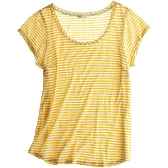 Wide Scoop Tee ($75) ❤ liked on Polyvore featuring tops, t-shirts, shirts, tees, women, t shirts, scoopneck tee, scoop neck top, shirts & tops and striped top