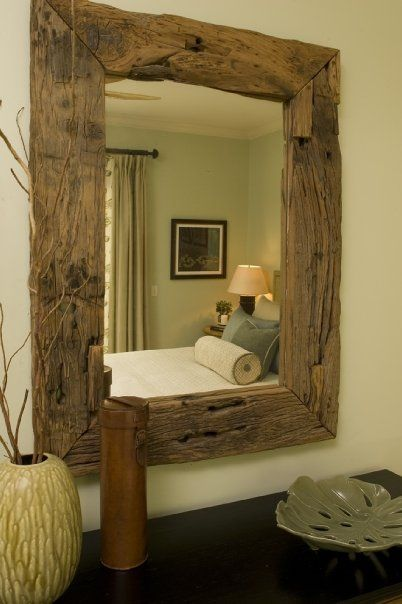 Beautiful barn board mirror. Hmm, I wonder if my dad has any of that reclaimed wood leftover