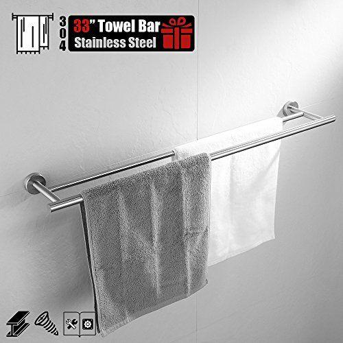 Hoooh Double Bath Towel Bar 30 Inch Matte Black Stainless Steel Hand Towel Rack For Bathroom A102l75 Bk Towel Rack Bathroom Towel Rack Towel Bar