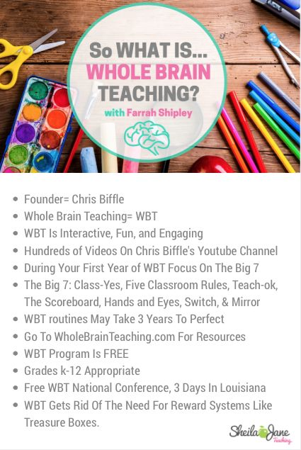SOOOO many teachers are talking about Whole Brain Teaching. I feel like I need a Cliff Notes explanation and this really helps. This infographic helps explain what WBT is. A must pin. Whole Brain Teaching is an Educational Reform Movement according to it's founder Chris Biffle. Plus WBT is completely FREE! What?!?!