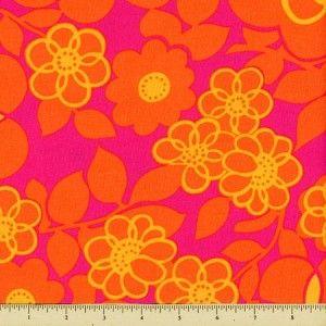 Orange Crush Cotton Fabric - Floral - Punch - Quilt Fabric