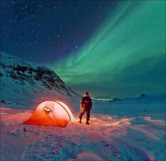 Camping under the Northern Lights in Norway