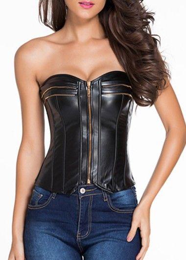 Black Strapless Overbust Zipper Faux Leather Bustier Corset