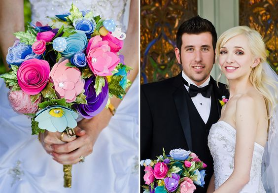 paper flowers at whimsical wedding