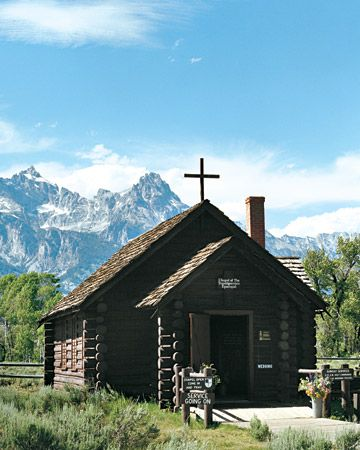 Chapel of the Transfiguration in Grand Teton National Park is a popular wedding with the rustic chapel and the Tetons serving as a majestic backdrop. Learn more at www.wyomingtourism.org.