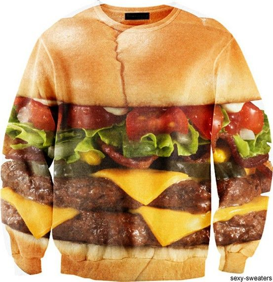 stop it....burger sweater.  i have to have one.